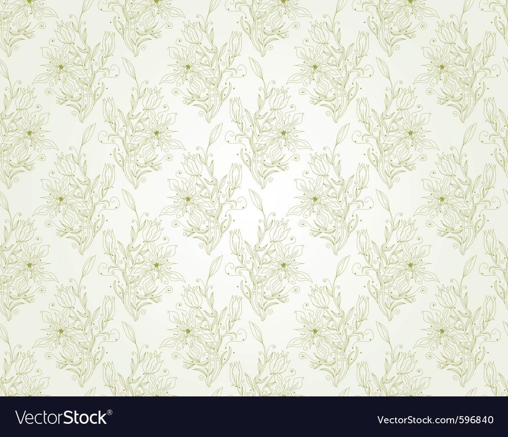 Floral seamless wallpaper vector