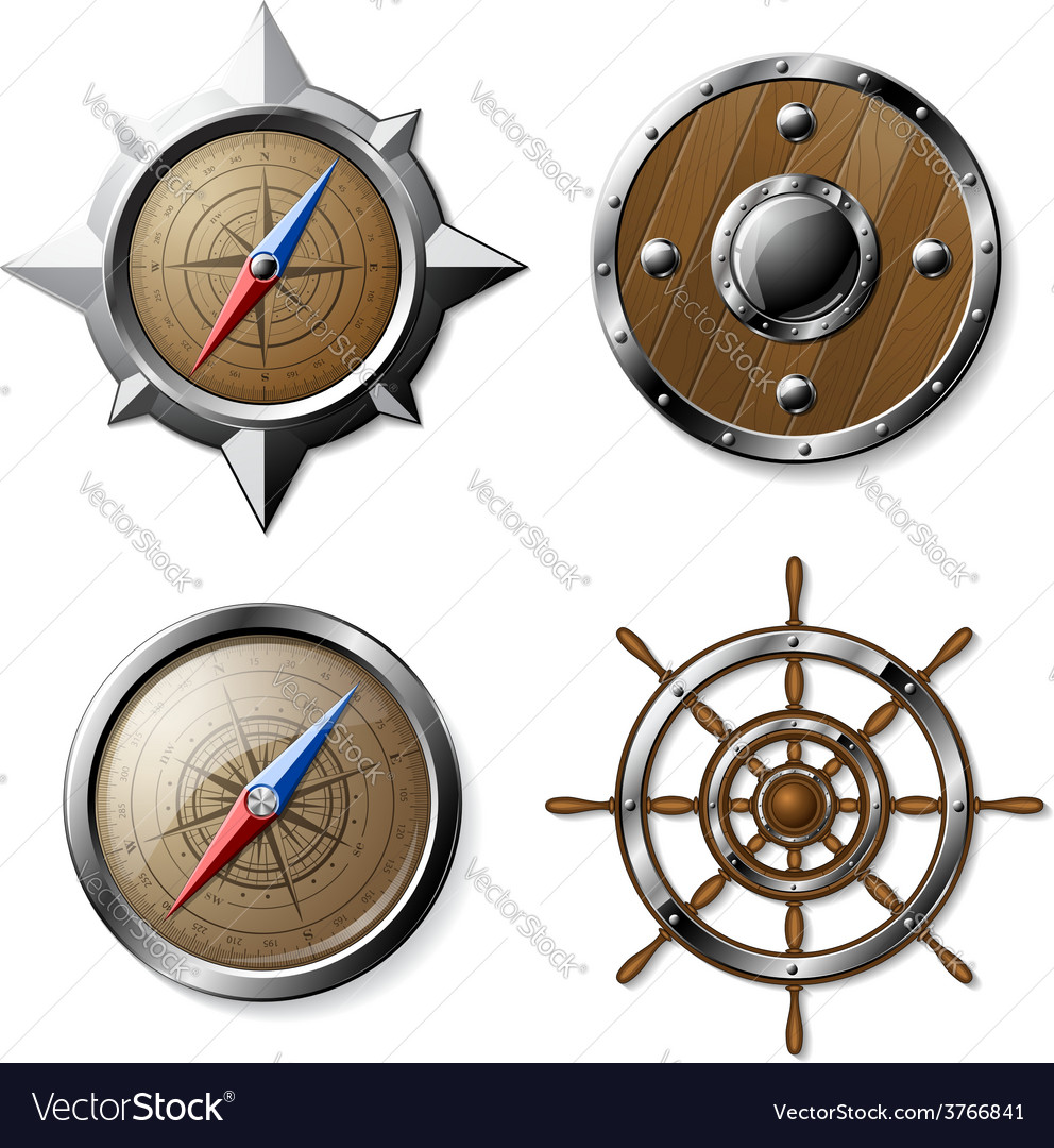 Set of steel and wooden nautical elements vector