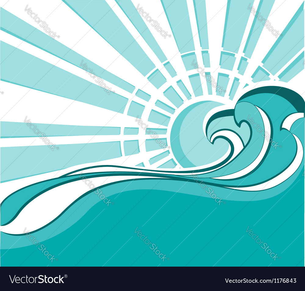 Sea waves of nature poster with sun vector