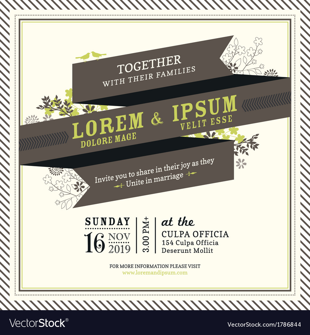 Vintage ribbon banner wedding invitation frame vector