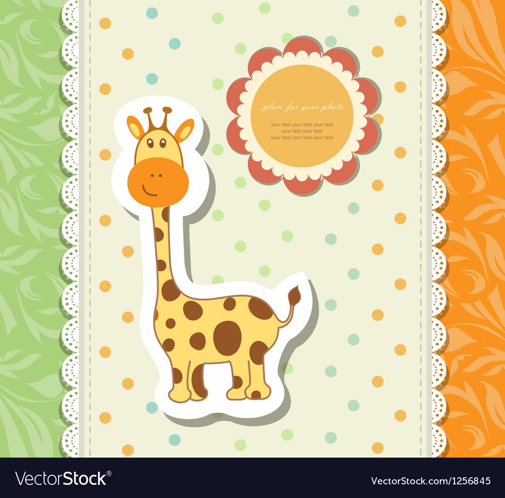 Vintage doodle little giraffe for greeting card vector