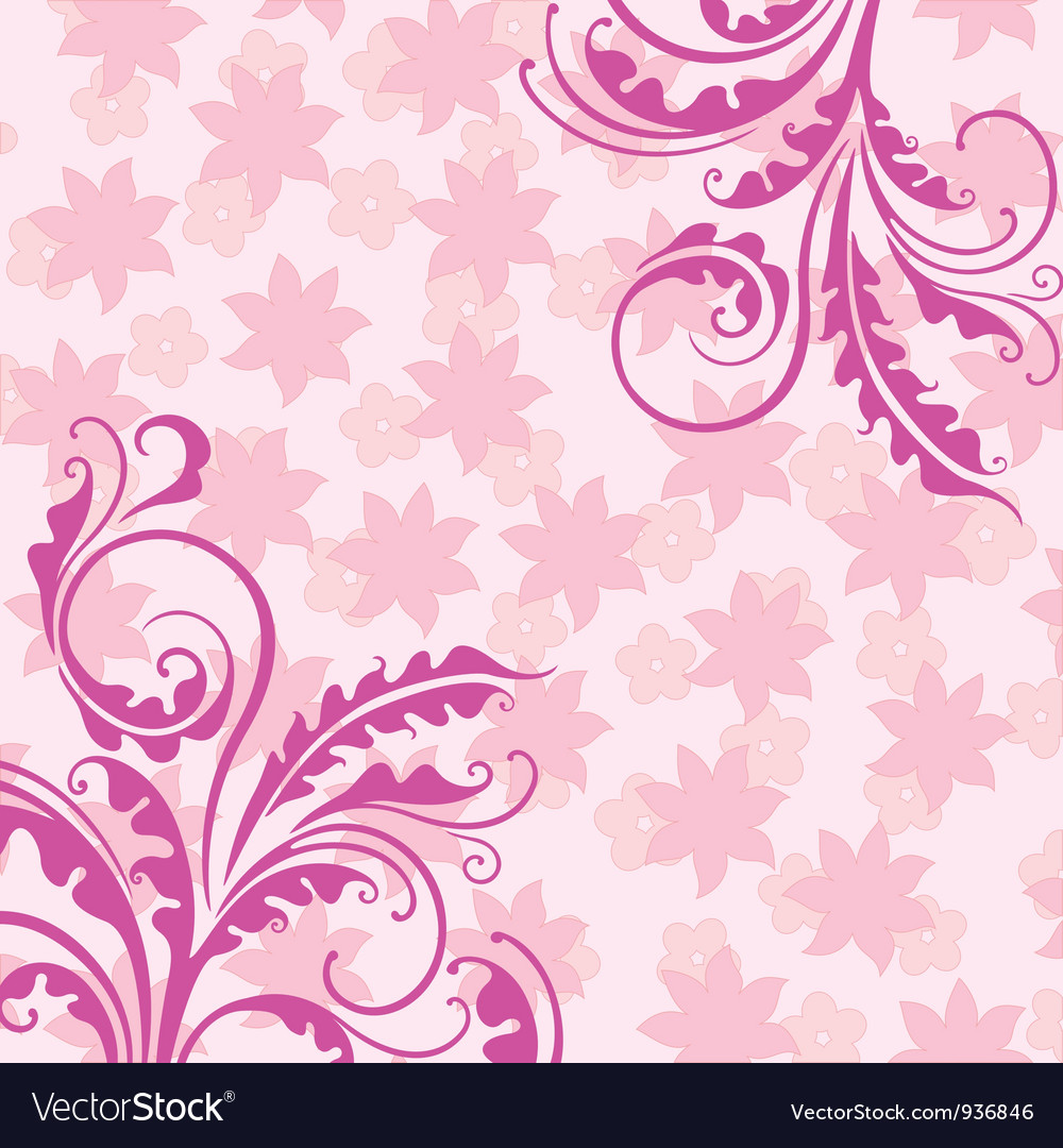 Decorative pink floral background vector