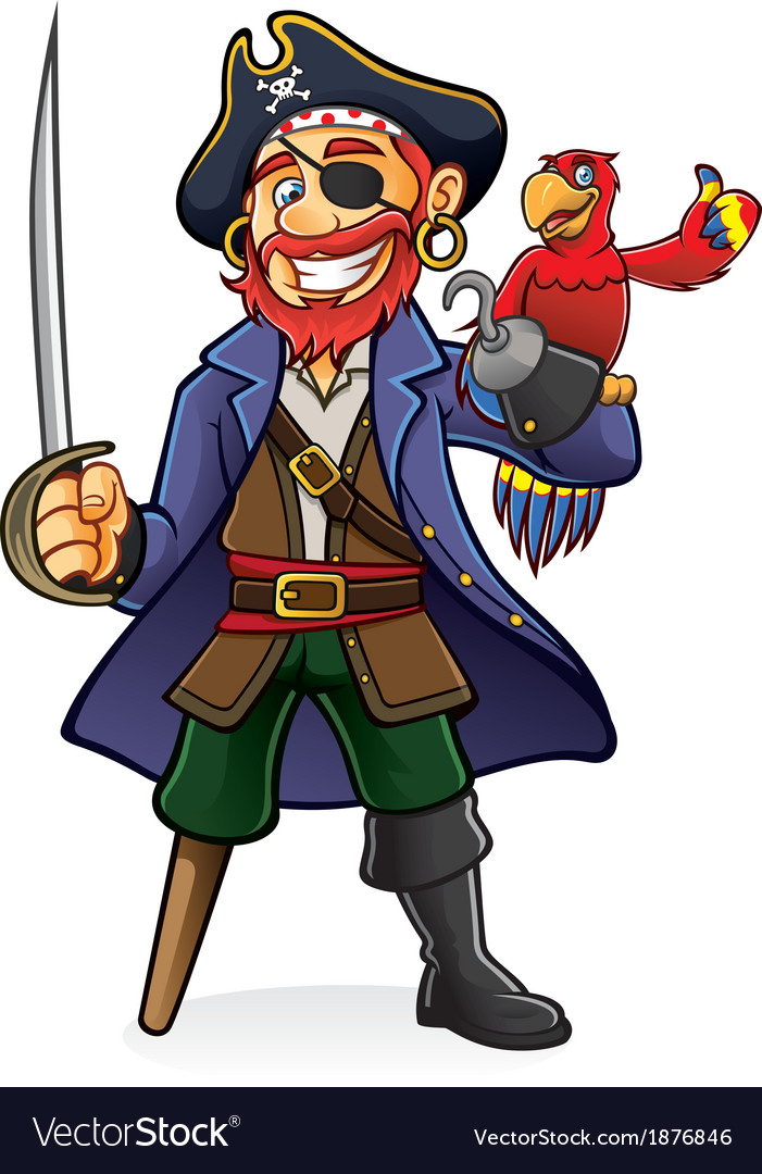 Pirate and parrot vector