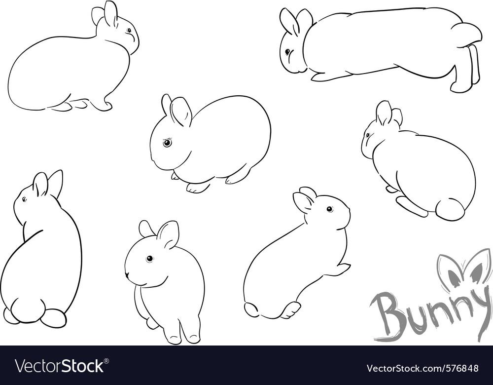 Set of drawing small bunny vector