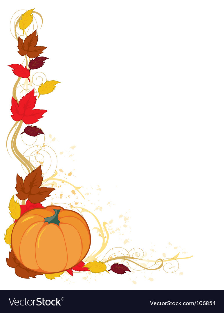 Pumpkin autumn border vector