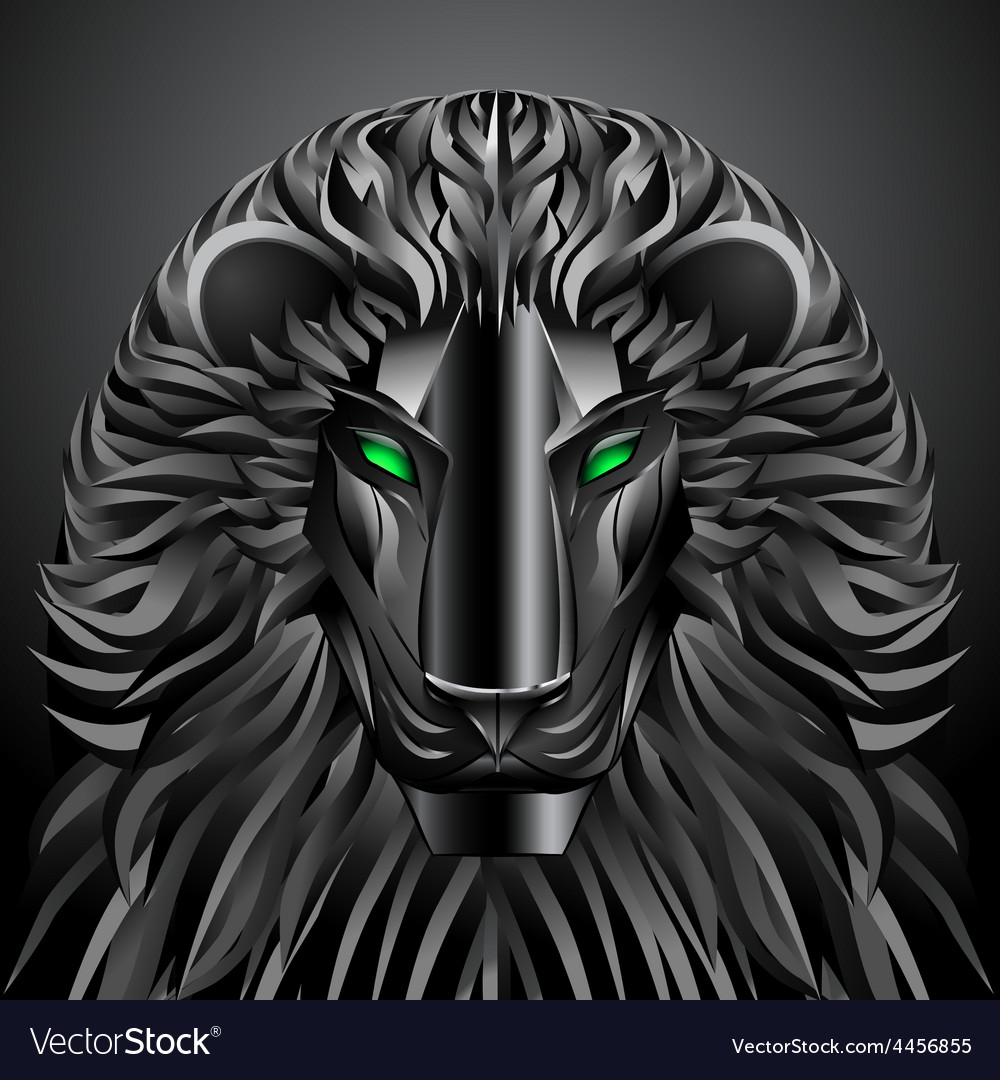 Animals lion black technology cyborg metal robot vector