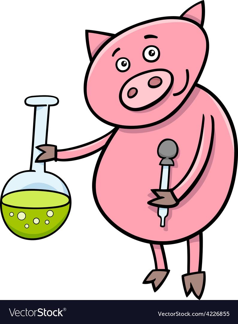 Piglet on chemistry lesson vector