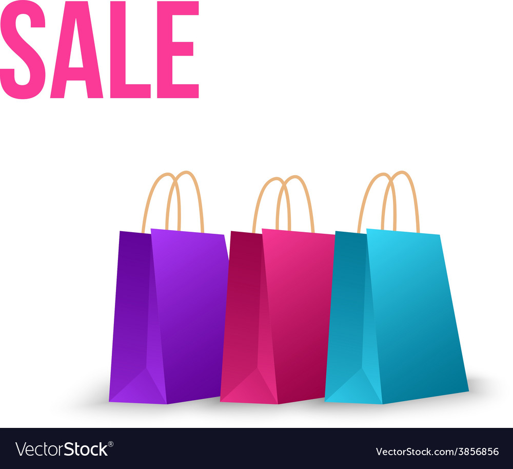 Sale paper bag isolated on white vector