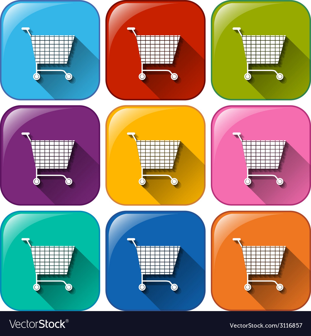 Round icons with grocery carts vector