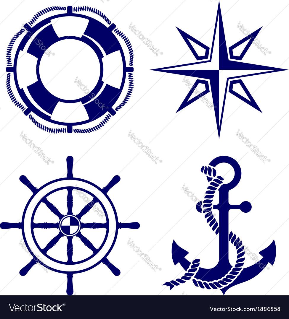 Set of marine symbols vector