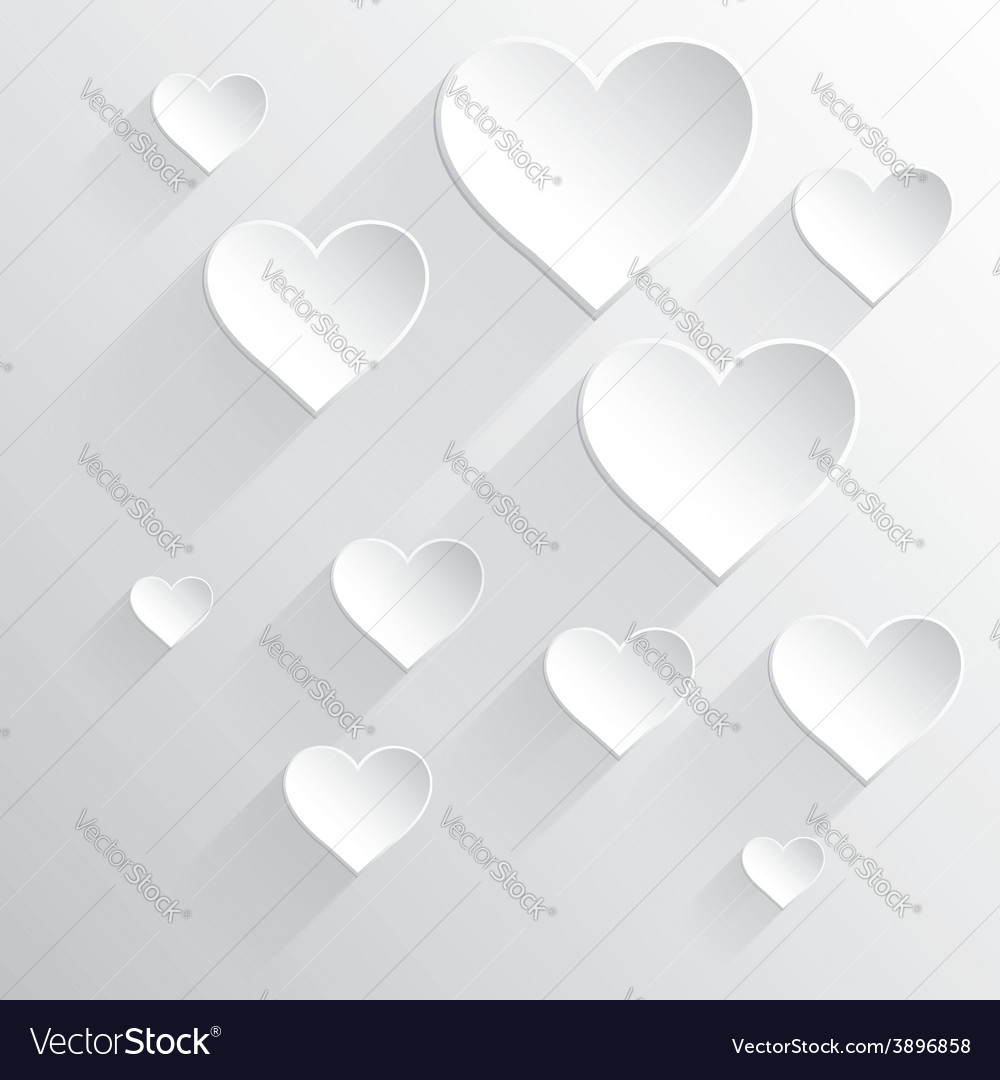Valentines day card white heart vector