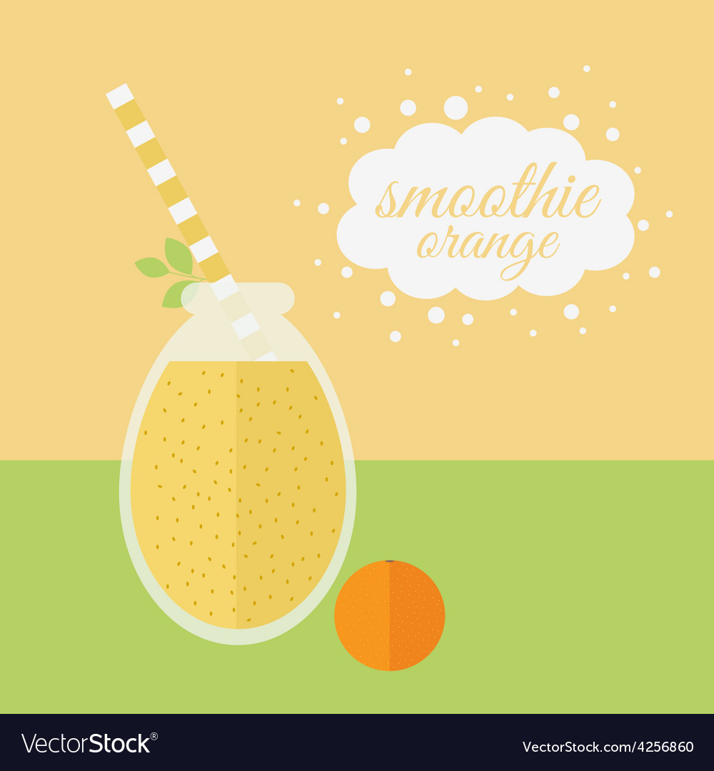 Orange smoothie in jar on a table vector