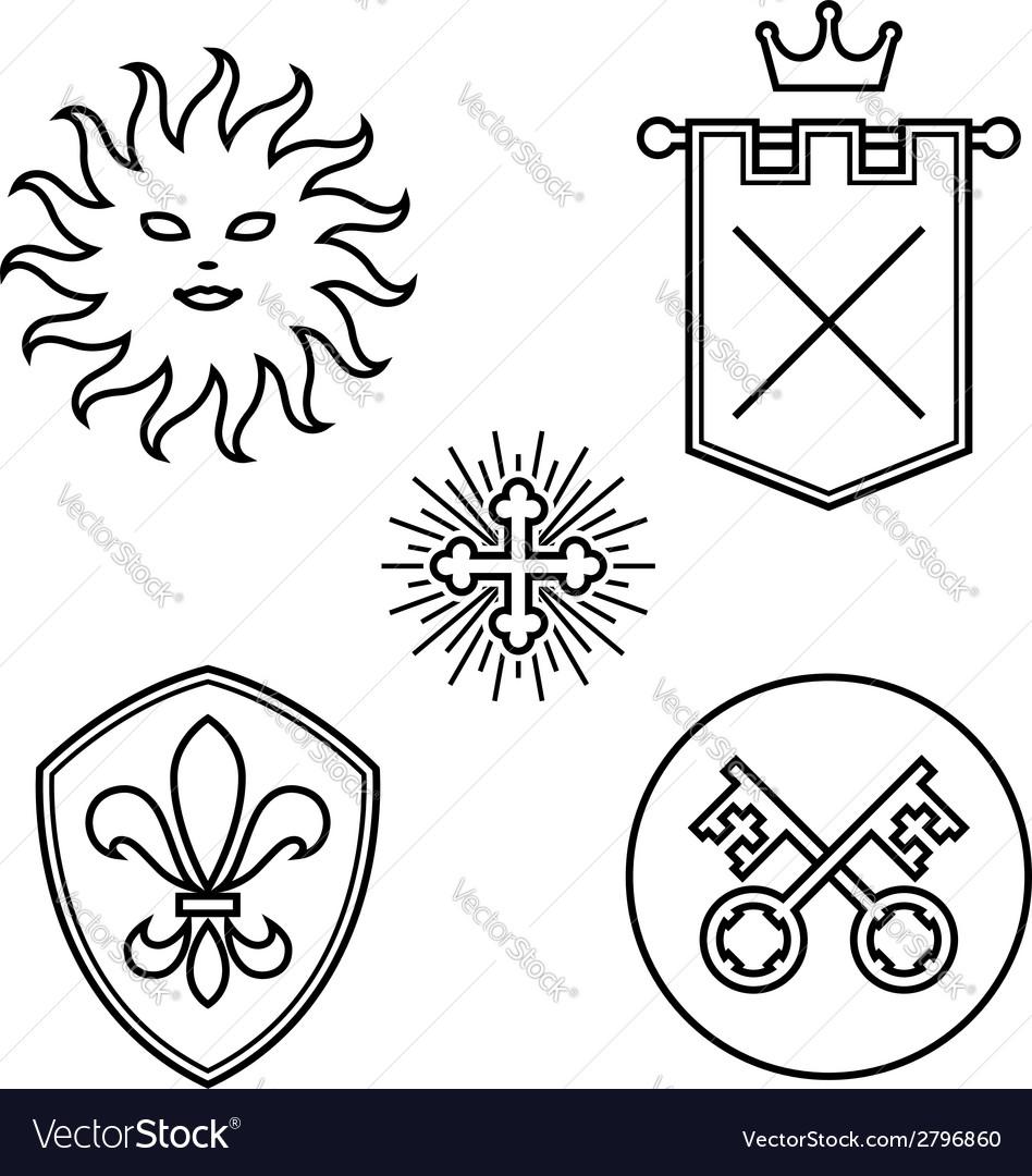 Vintage medieval design elements vector