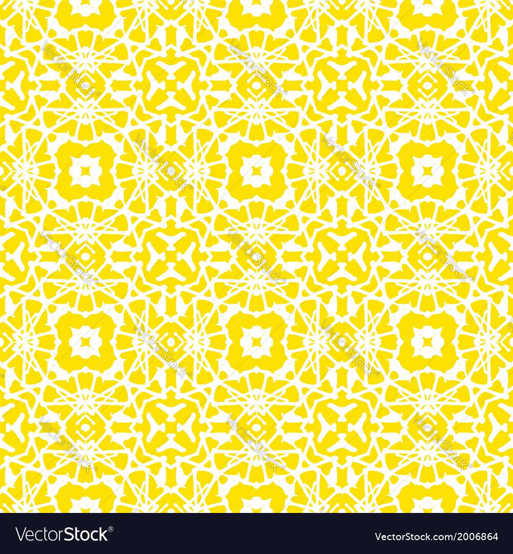 Geometric art deco pattern in bright yellow vector