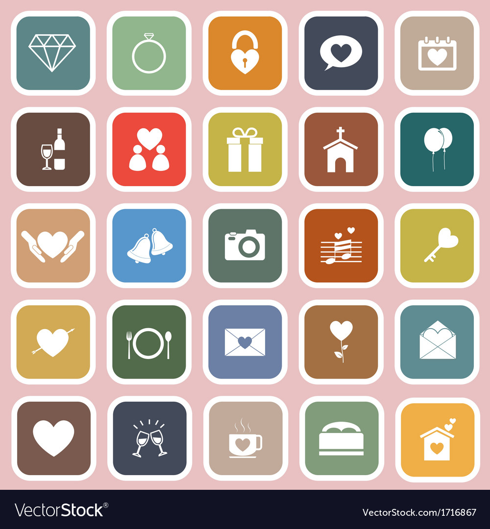 Wedding flat icons on pink background vector