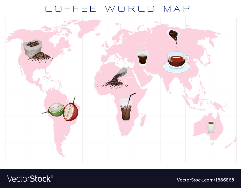 World map with coffee production and consumption vector