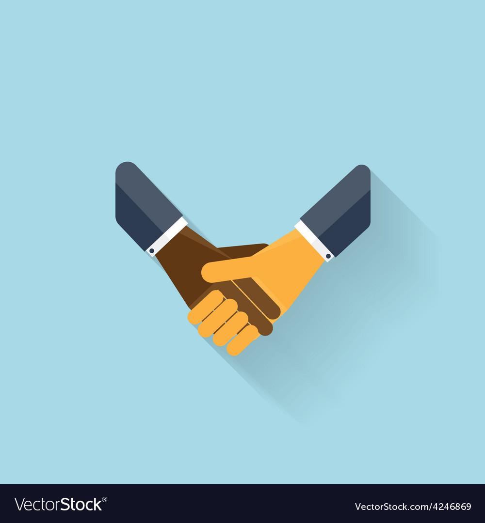 Flat web icon handshake vector