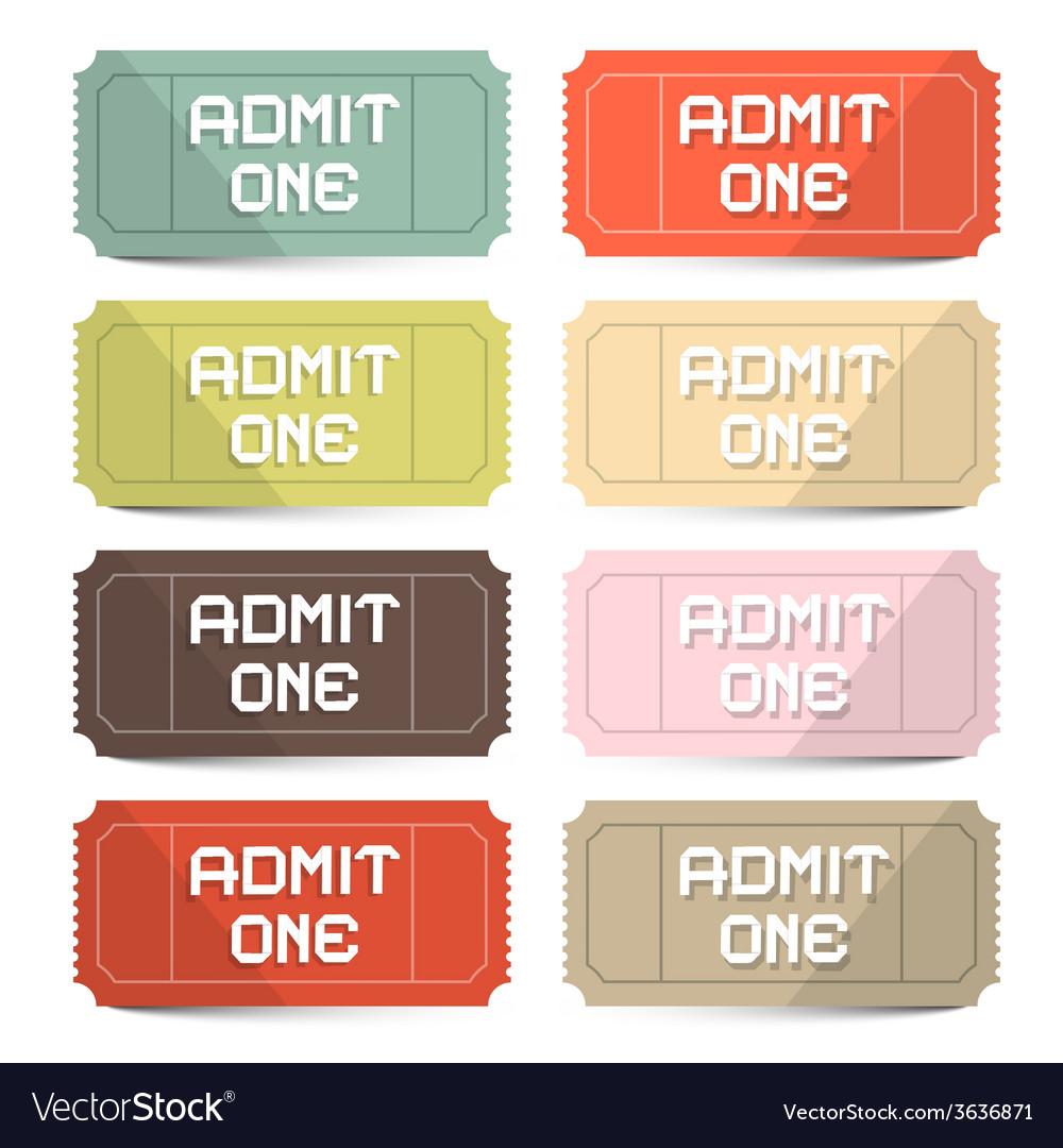 Admit one tickets retro set vector
