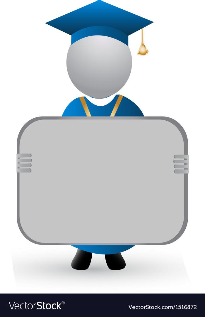 Graduate with announcement symbol vector