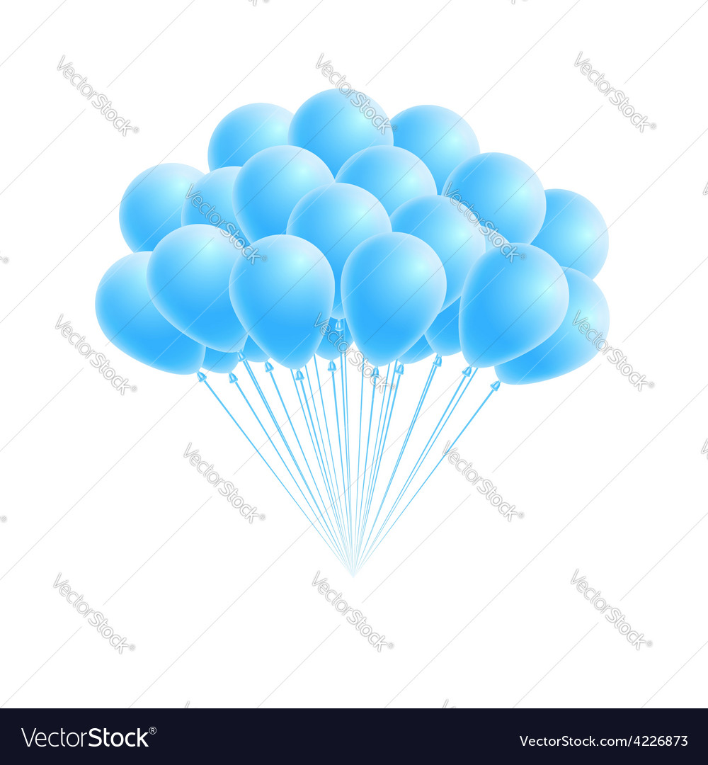 Bunch birthday or party blue balloons vector