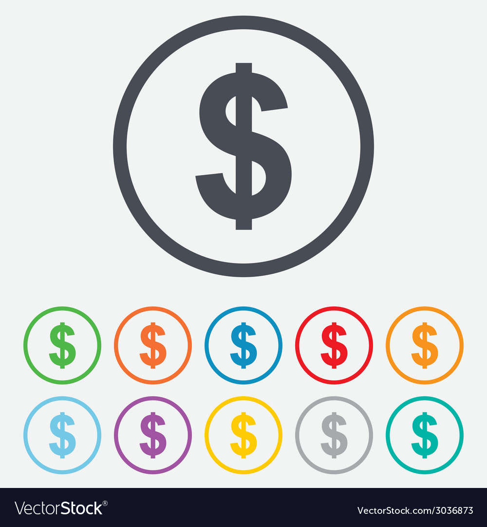 Dollar sign icon usd currency symbol vector