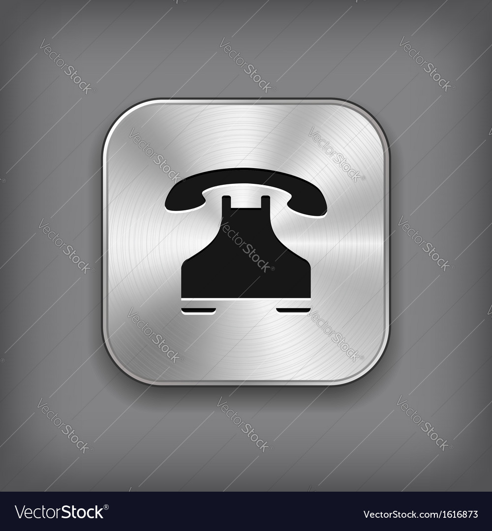 Phone icon - metal app button vector