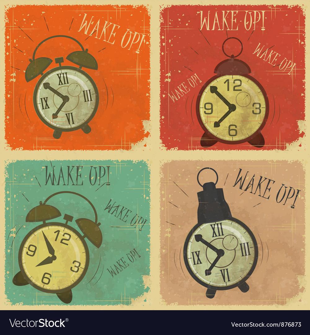 Retro alarm clock vector