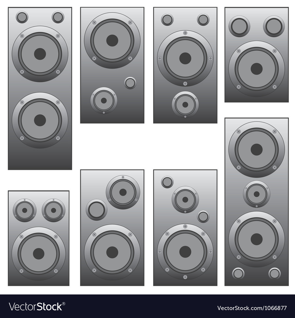 Set of audio speakers vector