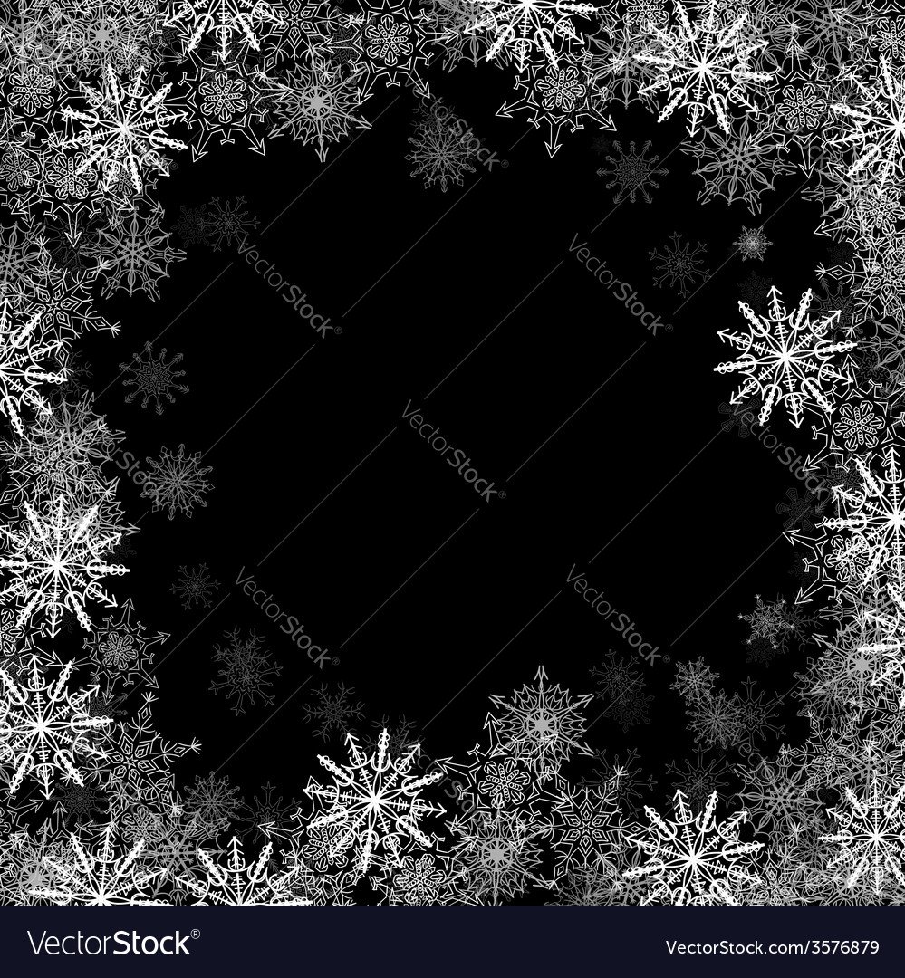 Rectangular frame with small snowflakes vector
