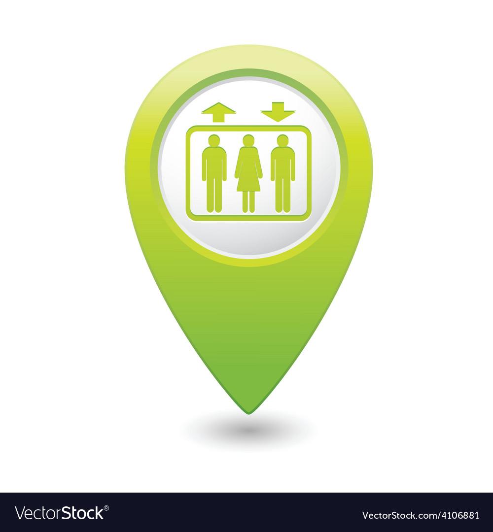 Lift green map pointer vector