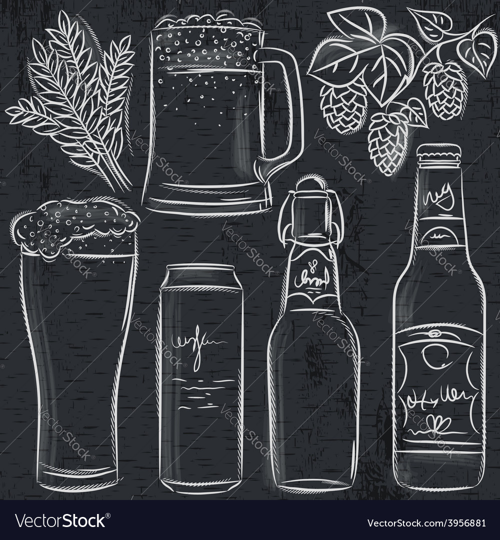 Set of beer bottle on blackboard vector