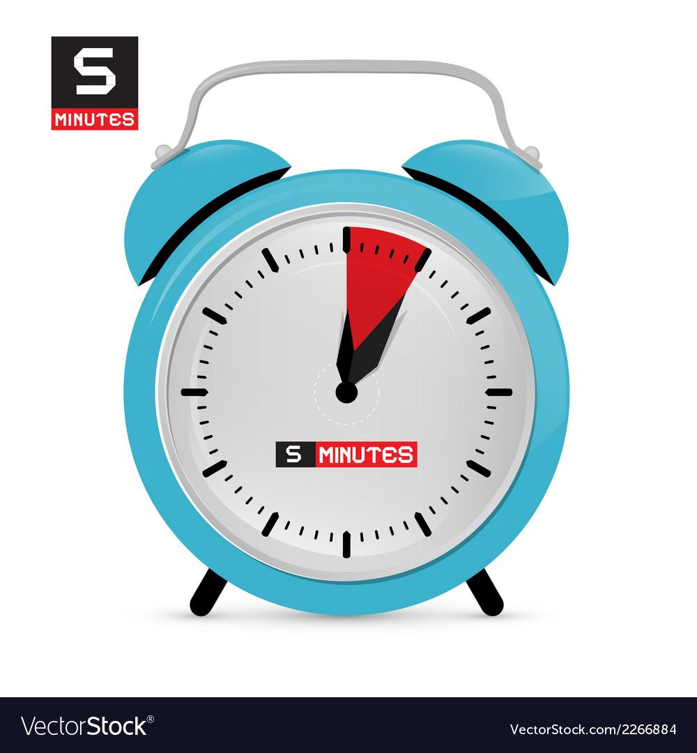 Five 5 minutes alarm clock vector