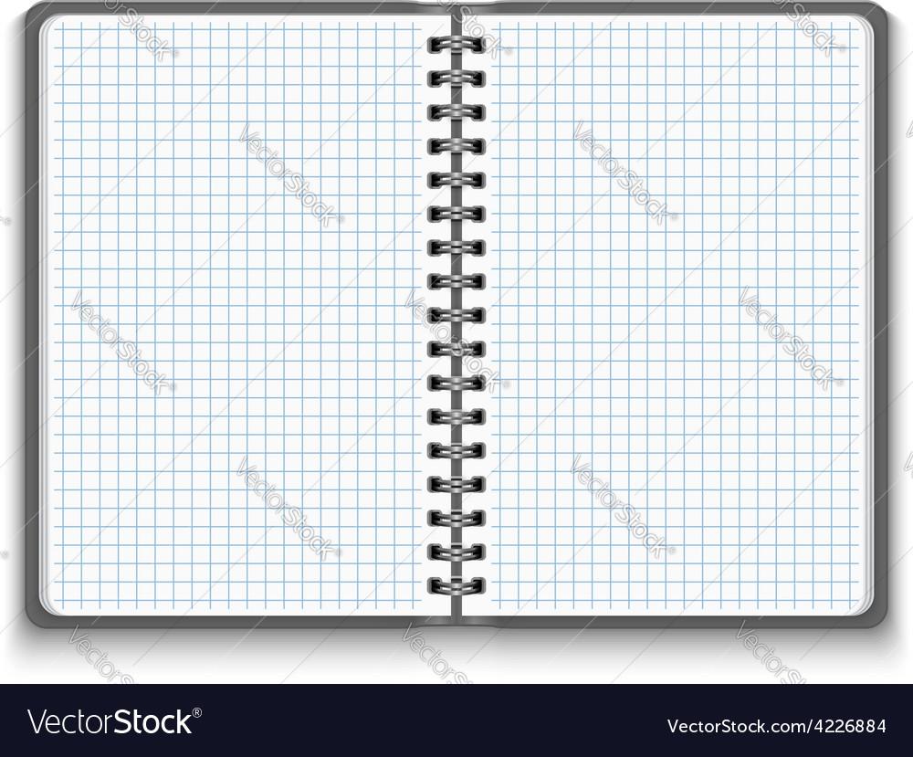 Realistic blank open notebook vector