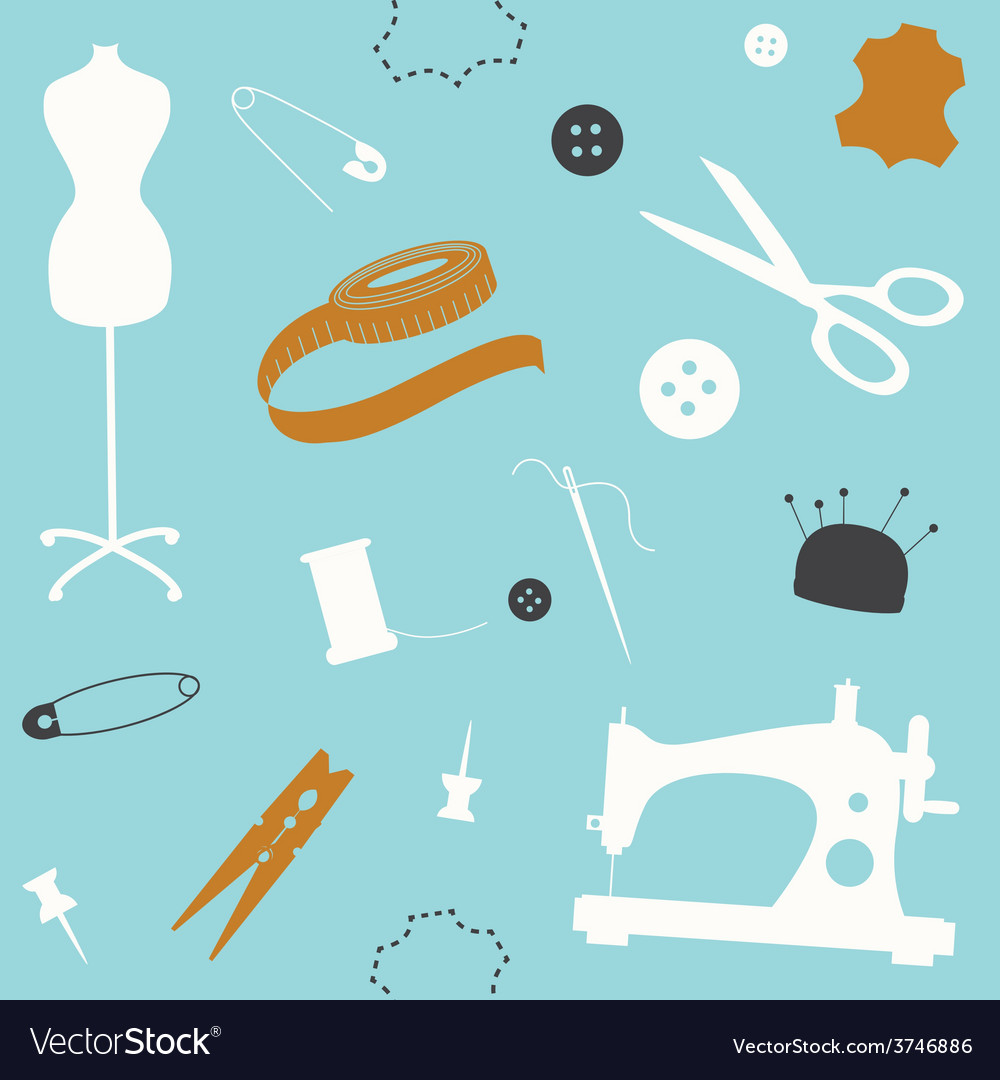 Blue seamless pattern with sewing machine and vector