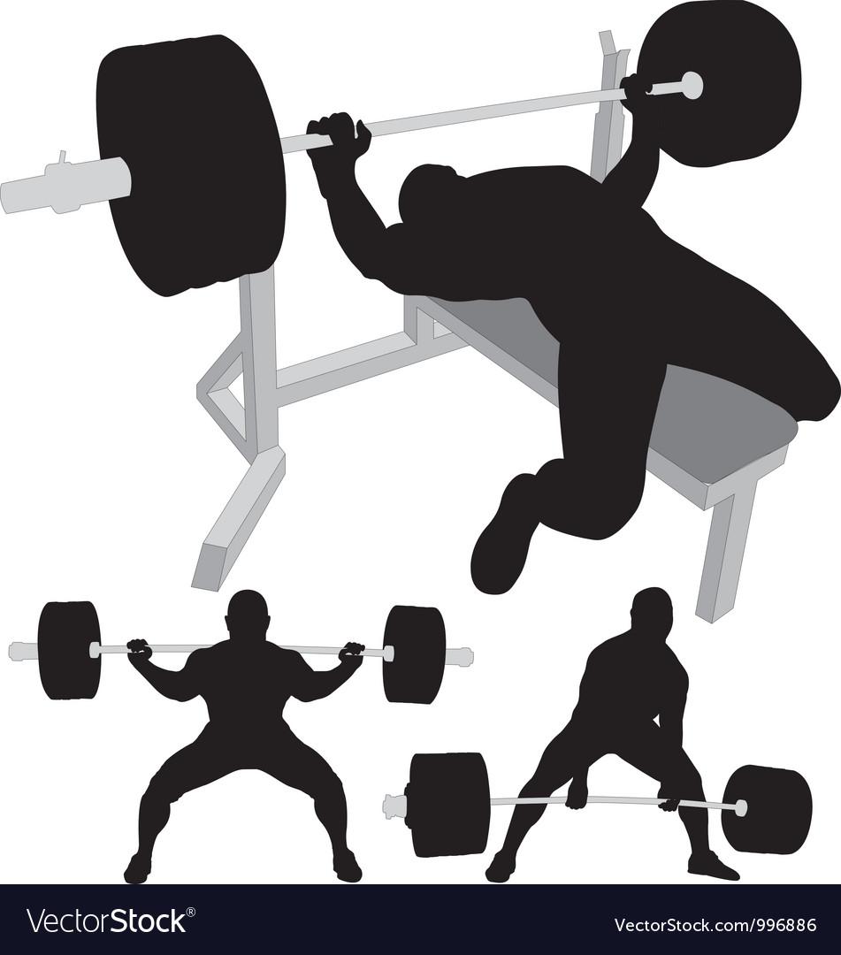 Powerlifting bench press squat deadlift vector