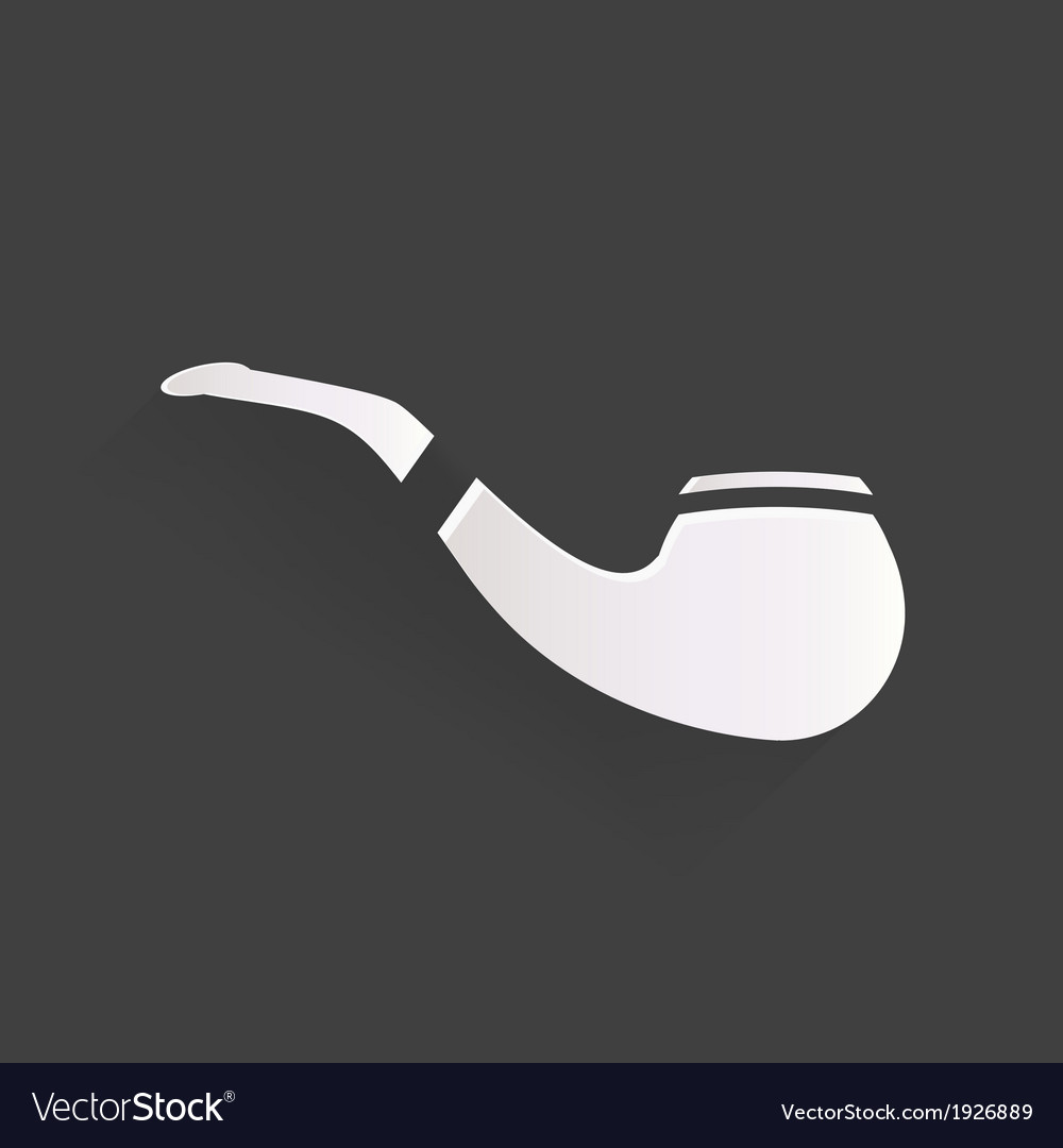 Tobacco pipe icon hipster style flat design vector