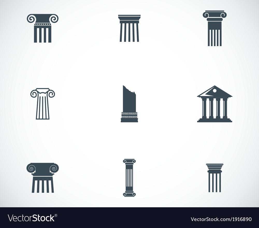 Black column icons set vector
