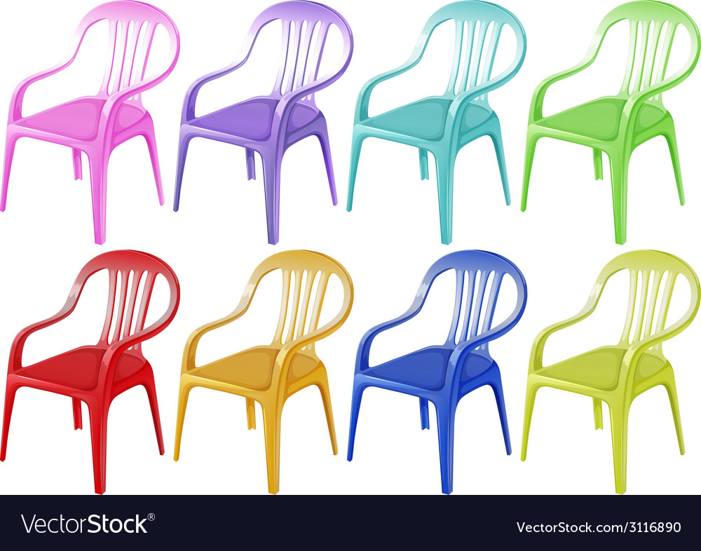 Colourful plastic chairs vector