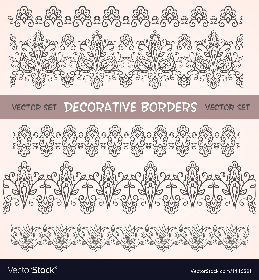 Decorative lace floral seamless borders vector