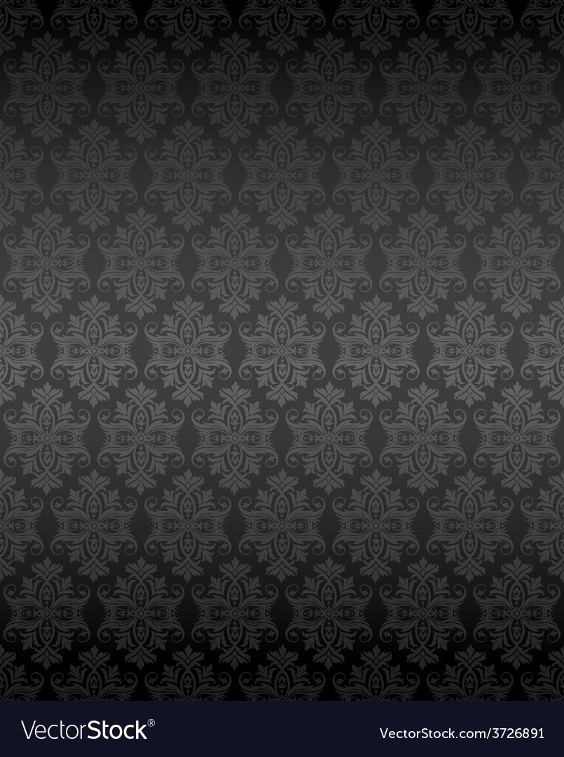 Luxury seamless black floral wallpaper vector