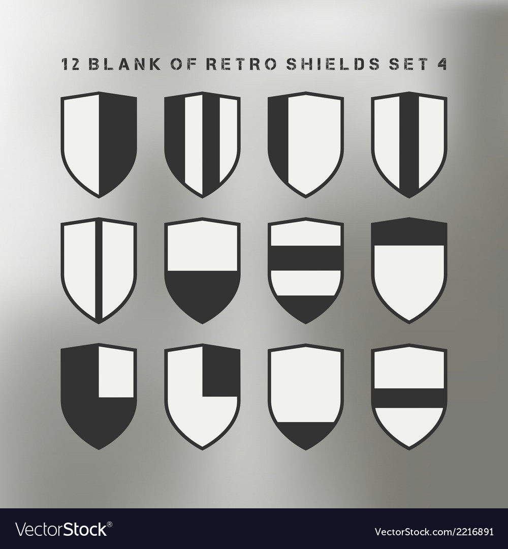 Set of shields black and white vector