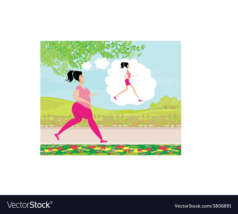 Young woman joggingfat girl dreams to be a skinny vector