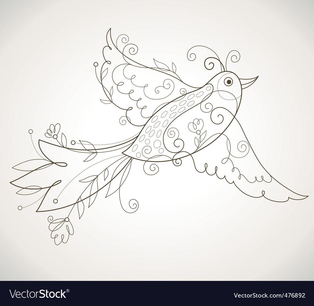 Decorative bird vector