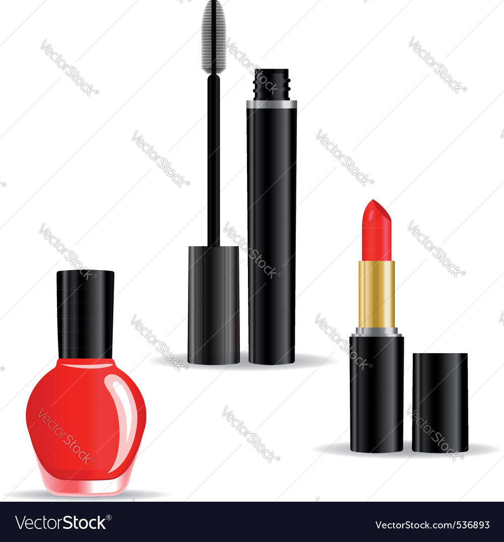 Set of woman cosmetics objects isolated on white b vector