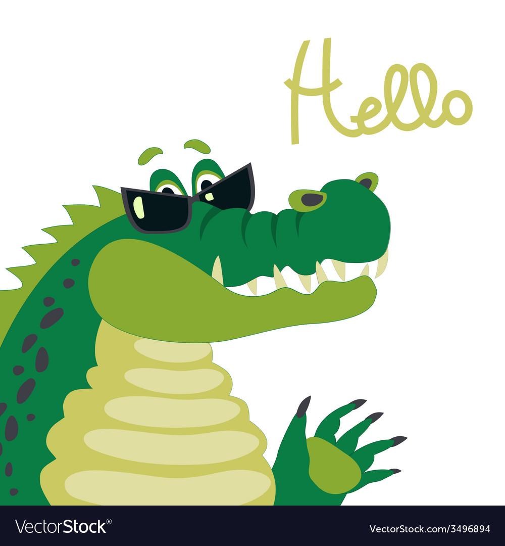 Cute crocodile says hello vector