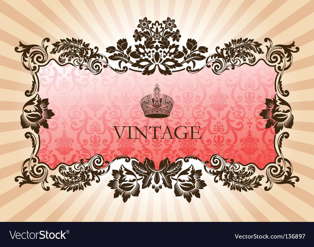 Vintage glamour frame red vector