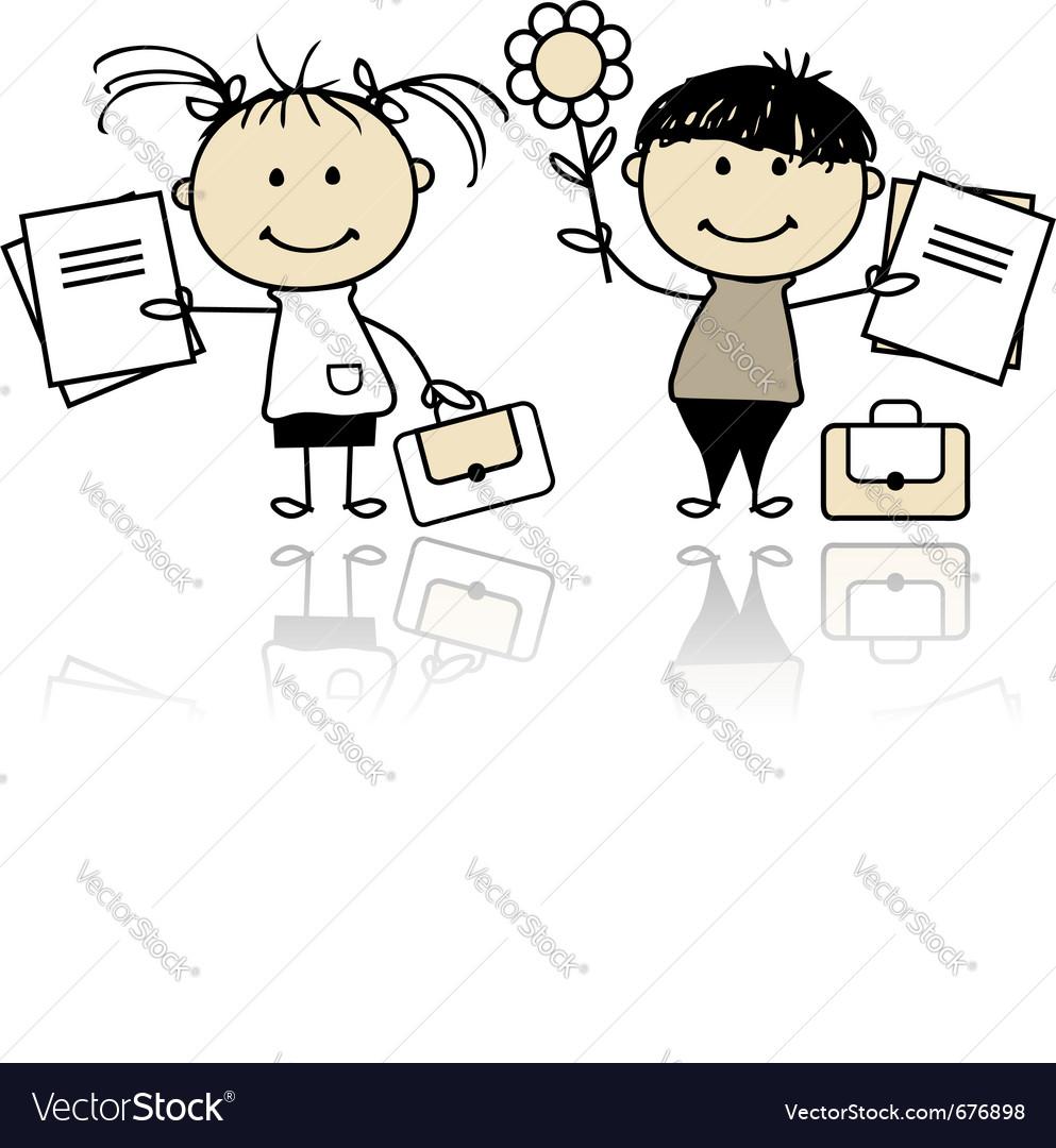 Children with school books vector