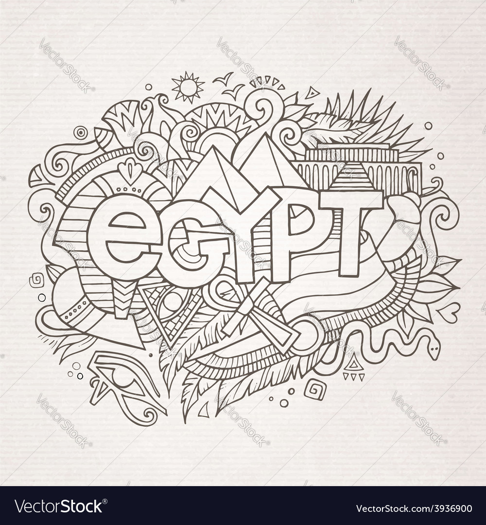 Egypt hand lettering and doodles elements vector