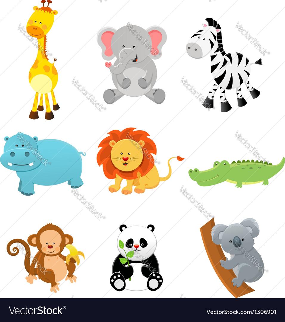 Collection of safari animals vector