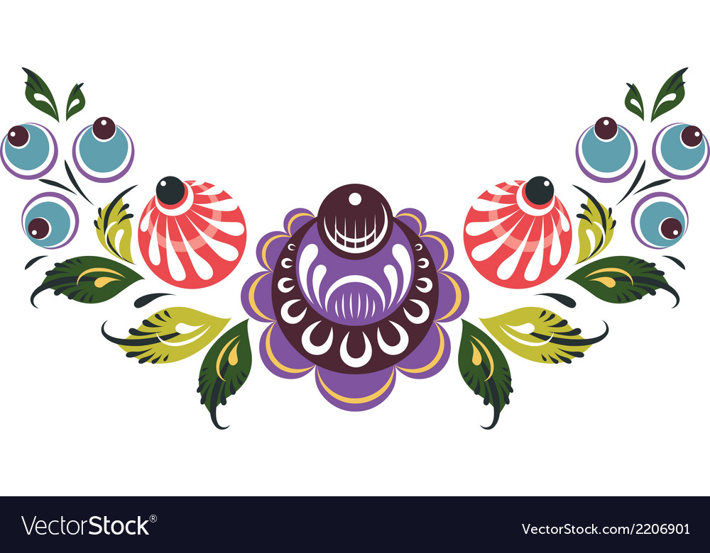 Floral elements in russian traditional style vector